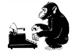 Affe an einer Schreibmaschine